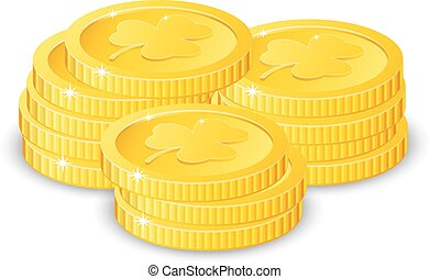 Golden coins with four leaf clover, vector illustration, for St. Patrick's day