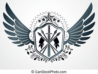 Heraldic Coat of Arms decorative vintage emblem, vector illustration of pentagonal stars and armory