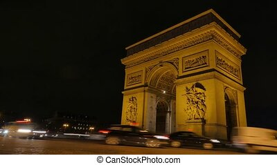 Arc de triumph-Paris France Time Lapse, Europe