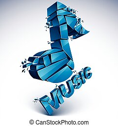 3d vector blue shattered musical notes with music word. Art...