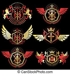 Vintage decorative heraldic vector emblems composed with...