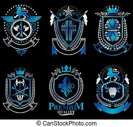 Set of vector vintage emblems created with decorative elements like crowns, stars, crosses, armory and animals.  Collection of heraldic coat of arms.