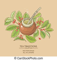 mate tea in calabash on color background