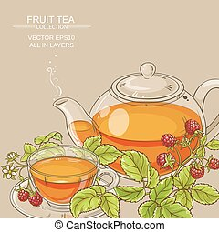 raspberry  tea vector background