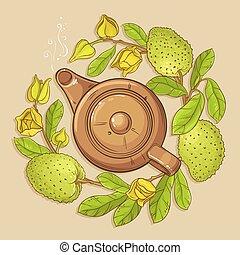 soursop tea vector illutration - soursop tea vector...