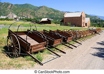 Display of Mormon Settler Hand Carts at Heritage Park in...