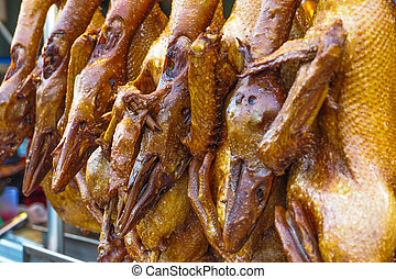 Duck stewed boiled hanging for sale in shop