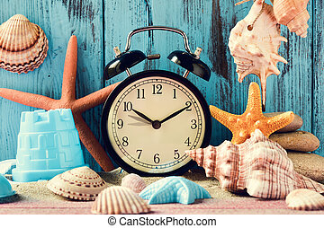 summer time - an alarm clock being adjusted forward one hour...