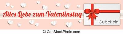 Heart Valentinstag Gutschein Header - German text Alles...