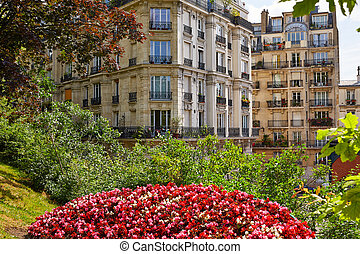 Paris Montmartre gardens and buildings view in France