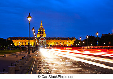 Les Invalides sunset facade in Paris France - Les Invalides...