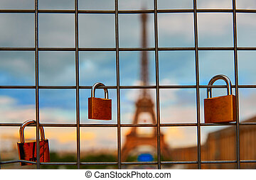 Eiffel Tower and Padlocks in Trocadero Paris at France