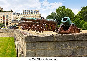 Les Invalides facade Cannons at Paris France - Les Invalides...