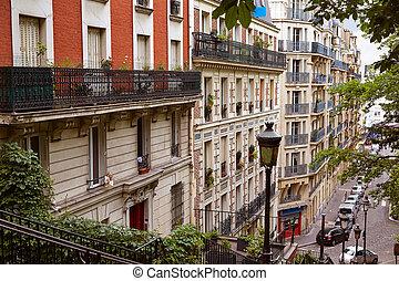Paris Montmartre stairs to Sacre Coeur - Paris Montmartre...