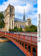 Notre Dame cathedral in Paris France French Gothic...