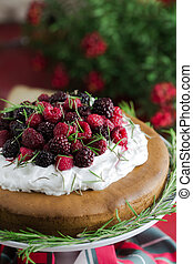 Fruit cake on red background - Cranberry and raspberry cake...