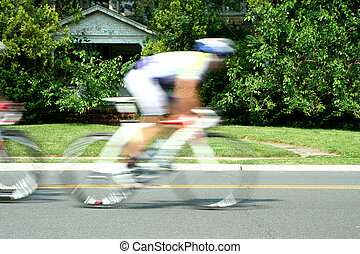 Blurred motion bicycle race