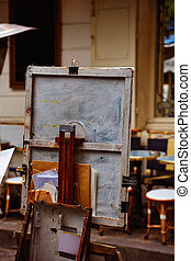 Montmartre painters place du Tertre canvas and tools in...