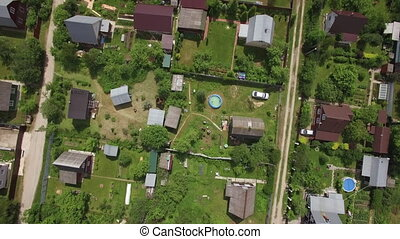 Aerial shot of dacha community in Russia - Aerial view of...