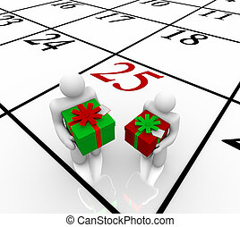 Christmas Calendar - People Exchanging Gifts - Two people...