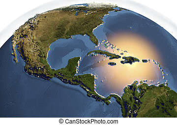 Planet Earth from space showing Central America with...
