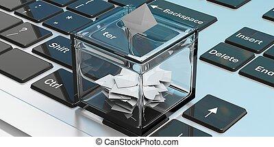 Ballot box on a laptop. 3d illustration - Ballot box on a...