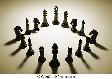 Chess Pieces in Sepia Tone