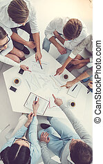 Business people working - High angle view of business people...