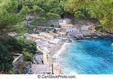 Port de Sa Calobra and Mediterranean Sea, Majorca, Spain
