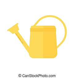 Simple vector icon of watering can. Garden tool on white...