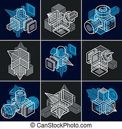 Abstract construction isometric designs collection, vector...