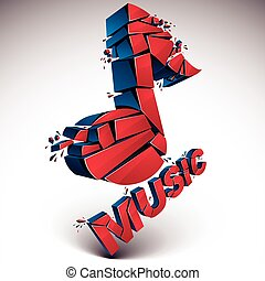 3d vector red shattered musical notes with music word. Art...
