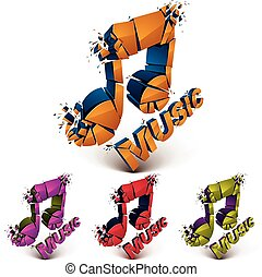 Set of 3d vector shattered musical notes with music word....