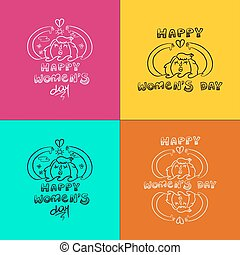 Happy 8 march women day doodle set girl in nature