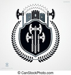 Vector heraldic coat of arms decorated in vintage award...