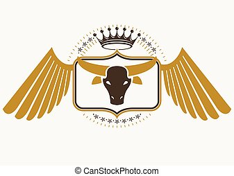 Vector retro label design decorated with eagle wings and made using vintage elements like royal crown and bull head illustration