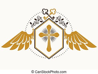 Vector retro insignia design decorated with eagle wings and made using vintage elements like keys and Christian religious cross