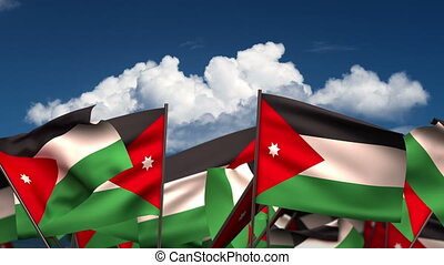 Waving Jordanian Flags (seamless & alpha channel)