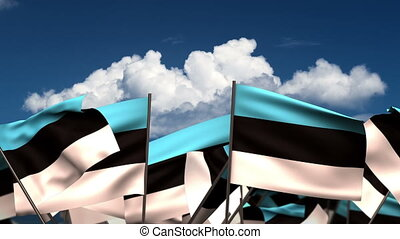 Waving Estonian Flags (seamless & alpha channel)