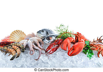 Fresh seafood on crushed ice - Fresh fish and seafood...