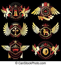 Heraldic vector signs decorated with vintage elements,...