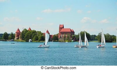 Regatta on the lake near Trakai Castle in Trakai, Lithuania...
