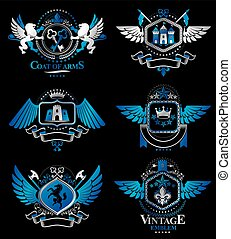 Set of vector vintage emblems created with decorative...