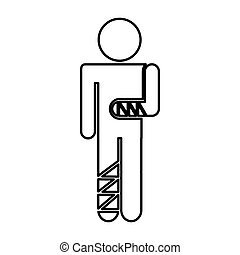 human figure with fractures vector illustration design
