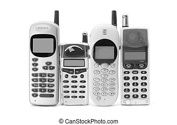 Mobile Phones on White Background
