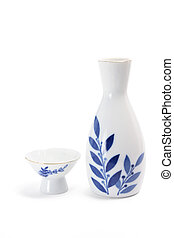 Sake Cup and Pitcher on White Background