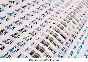 Wall Of New Modern Multi-storey Residential Building House In Residential Area