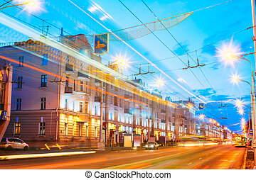 Gomel, Belarus. Traffic And Light Trails On Lenin Avenue In...