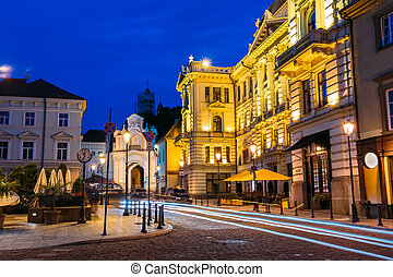 Vilnius Lithuania. Illuminated Lithuanian National...