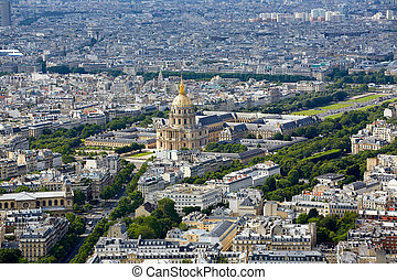 Aerial Paris skyline and Invalides France - Aerial Paris...